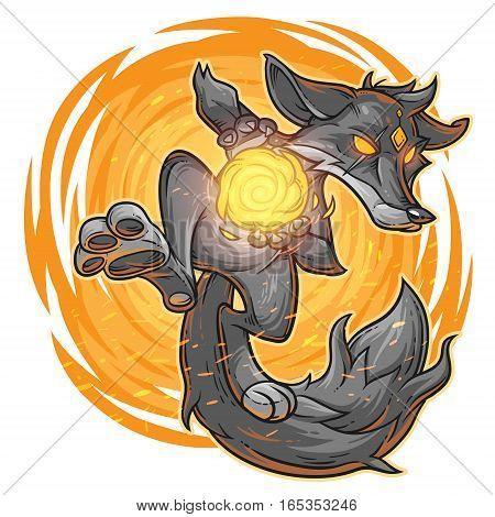 illustration of a cartoon monster fire fox.