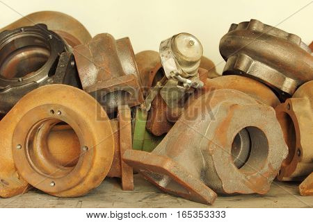 Large group of turbocharger in a workshop