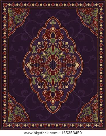 Oriental abstract ornament. Purple template for carpet coverlet shawl textile and any surface. Ornamental colorful pattern with filigree details.