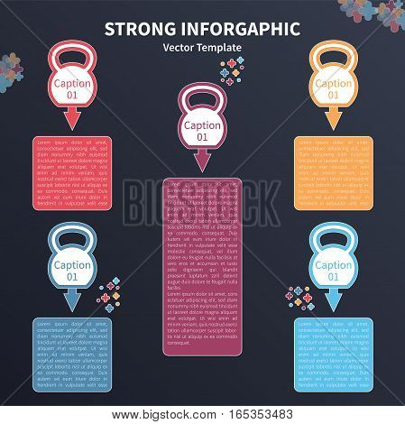 Vector infographic colorful template. Concept with kettlebell stylized elements on the dark background.