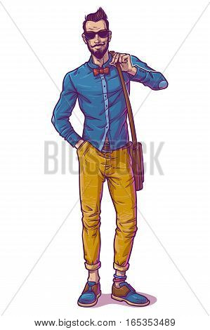 illustration of a fashionable guy in sunglasses