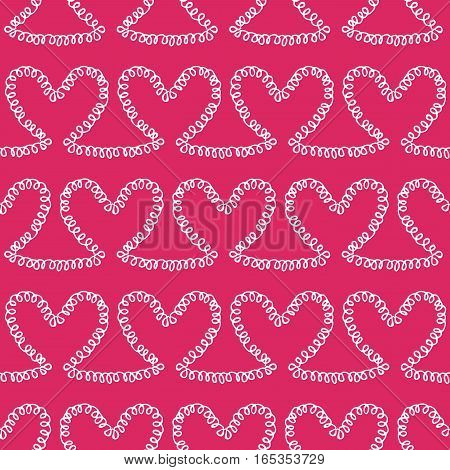 Romantic seamless pattern. Endless ornament with white doodle hearts on pink backdrop. Valentines day or wedding background for fabric, wrapping, packaging paper