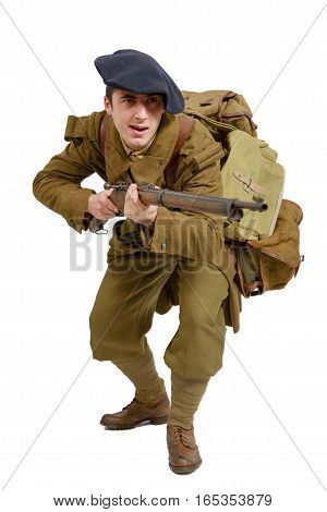 French Mountain Infantry soldier during the Second World War on a white background