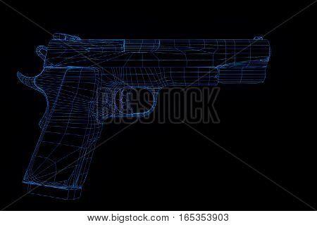 Gun Weapon Hologram Wireframe in Motion. Nice 3D Rendering