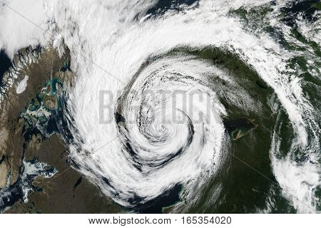 Cyclone - view from space. Elements of this image are furnished by NASA