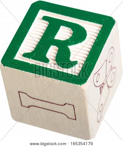 Wooden Letter Block With Letter R - Isolated
