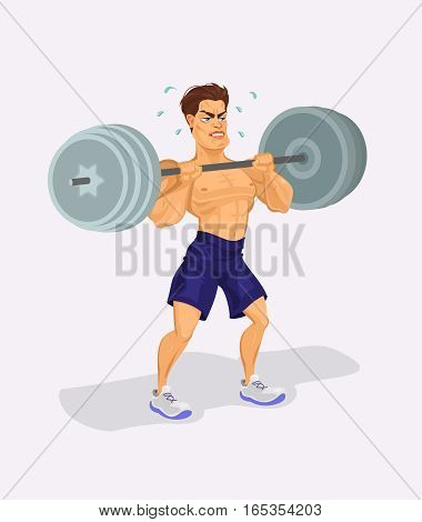 illustration of a weightlifter lifting barbell illustration