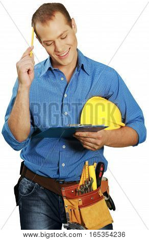 Construction Worker Using Clipboard and Scratching Head with Pencil - Isolated