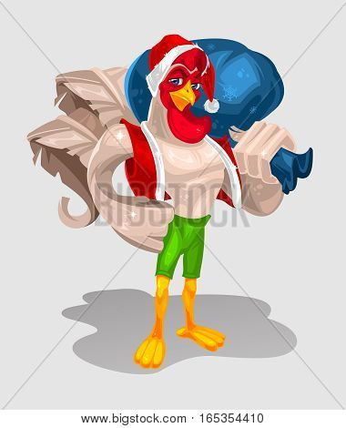 color illustration of a rooster standing in attire of Santa Claus. Cock symbol 2017 year