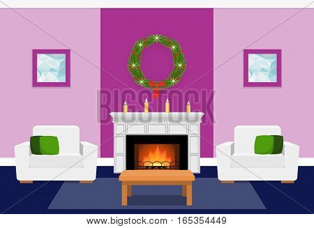 Living room interior with fir wreath fireplace. Christmas design. Vector in flat style including furniture. Xmas background.