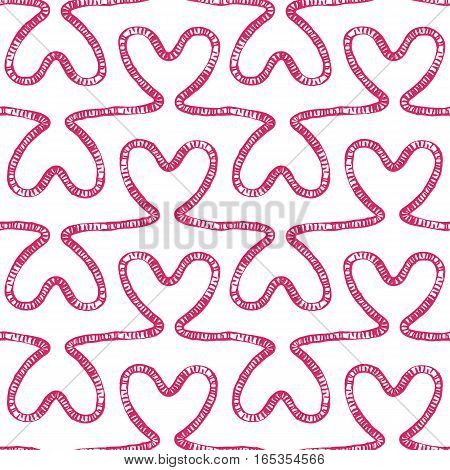 Romantic seamless pattern. Endless ornament with pink doodle hearts on white backdrop. Valentines day or wedding background for fabric, wrapping, packaging paper