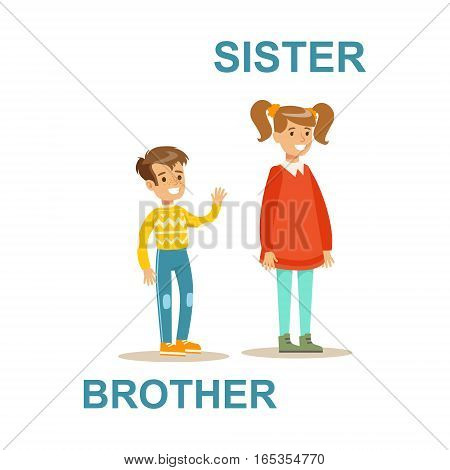 Younger Brother And Older Sister, Happy Family Having Good Time Together Illustration. Household Members Enjoying Spending Time Together Vector Cartoon Drawing.
