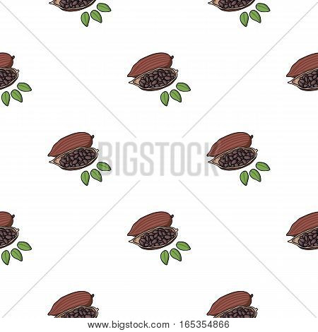 Roasted cacao beans icon in cartoon style isolated on white background. Herb an spices symbol vector illustration.