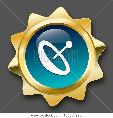 Reception seal or icon with satellite dish symbol. Glossy golden seal or button with turquoise color.