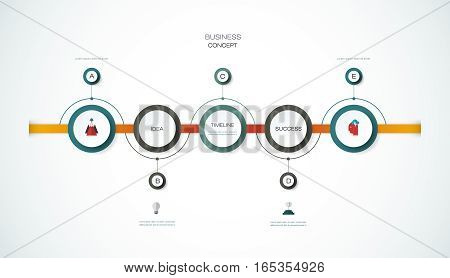 Vector infographics timeline design template with 3D paper label ,integrated circles background. Blank space for content, business, infographic, diagram, digital network, flowchart, process,  time line, chart