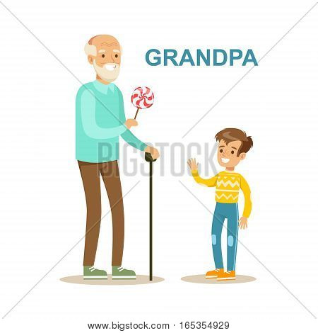 Grandpa Giving Candy To Grandson, Happy Family Having Good Time Together Illustration. Household Members Enjoying Spending Time Together Vector Cartoon Drawing.