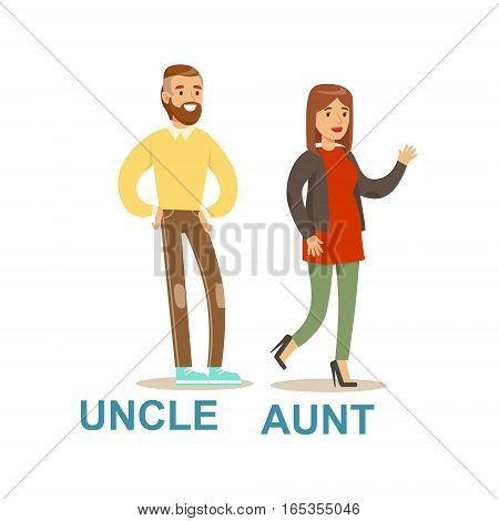 Uncle And Aunt, Happy Family Having Good Time Together Illustration. Household Members Enjoying Spending Time Together Vector Cartoon Drawing.
