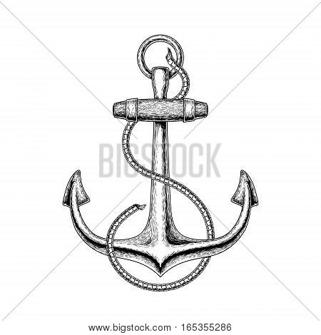 illustration of a nautical anchor, engraving illustration