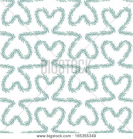 Romantic seamless pattern. Endless ornament with green floral hearts on white backdrop. Valentines day or wedding background for fabric, wrapping, packaging paper