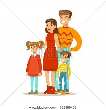 Mom, Dad And Children, Happy Family Having Good Time Together Illustration. Household Members Enjoying Spending Time Together Vector Cartoon Drawing.