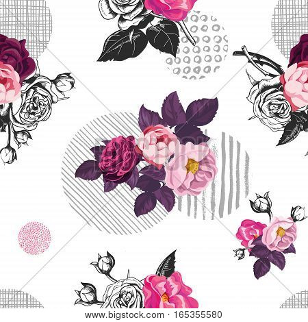 Romantic seamless pattern with small bouquets of cut rose flowers and gray circles of different textures on background. Vector illustration in vintage style for fabric print, wrapping paper, backdrop.
