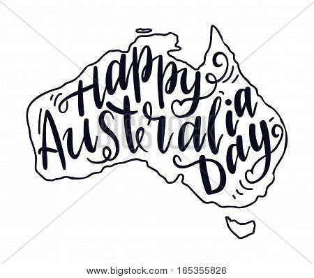 Inscription Happy Australia day lettering. Vector illustration. Calligraphy for the print typography