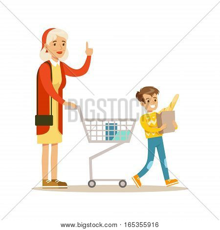 Grandmother And Grandson Shopping, Happy Family Having Good Time Together Illustration. Household Members Enjoying Spending Time Together Vector Cartoon Drawing.
