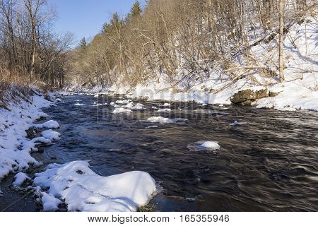 A river in the woods in winter.