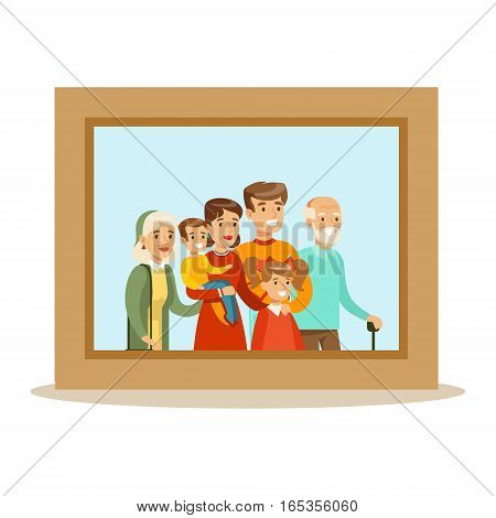 , Happy Family Having Good Time Together Framed Photo Portrait Illustration. Household Members Enjoying Spending Time Together Vector Cartoon Drawing.