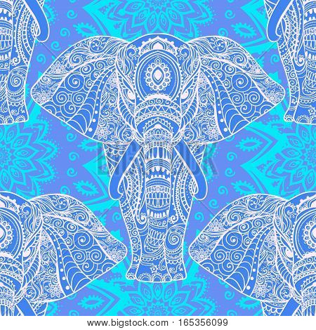 Pattern with baby elephant made in vector. Color ornamental illustration  for design, pattern, textiles. Use for children's clothes, pajamas and adult coloring book