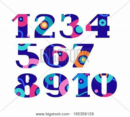 Figures, color, abstract circles, vector.  Vector numerals with serif. Blue, pink and orange circles on a dark blue  background. An abstract pattern.