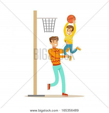 Father And Son Playing Basketball, Happy Family Having Good Time Together Illustration. Household Members Enjoying Spending Time Together Vector Cartoon Drawing.