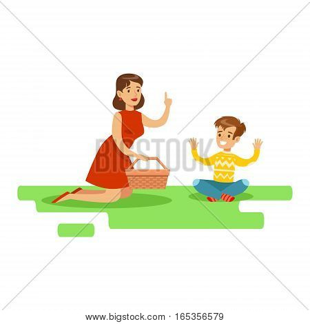 Mom And Son Having Picnic, Happy Family Having Good Time Together Illustration. Household Members Enjoying Spending Time Together Vector Cartoon Drawing.