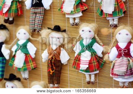 Cute Handmade Ragdoll Dolls Sold On Easter Market In Vilnius, Lithuania
