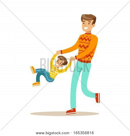Dad Swinging Son Holding His Hands, Happy Family Having Good Time Together Illustration. Household Members Enjoying Spending Time Together Vector Cartoon Drawing.