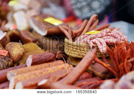 Selection Of Assorted Home Made Sausages On A Farmer's Market