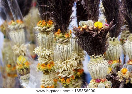 Traditional Lithuanian Easter Palm Known As Verbos Sold On Easter Market In Vilnius, Lithuania