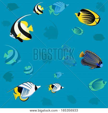 Colorful ocean fish, vector seamless underwater pattern