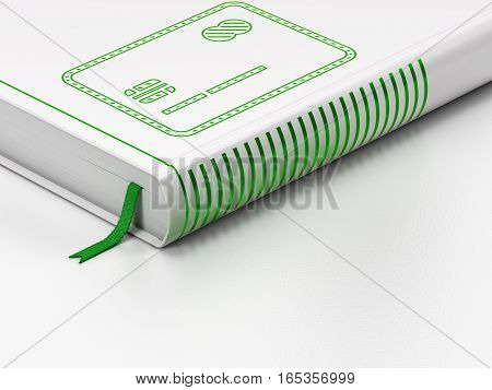 Money concept: closed book with Green Credit Card icon on floor, white background, 3D rendering