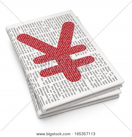 Currency concept: Pixelated red Yen icon on Newspaper background, 3D rendering