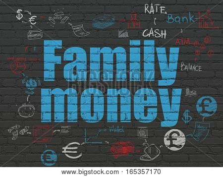 Money concept: Painted blue text Family Money on Black Brick wall background with Scheme Of Hand Drawn Finance Icons