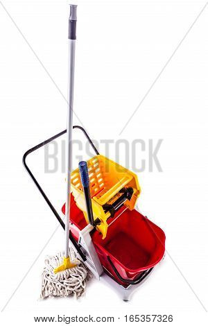 Red Mop Bucket Over White