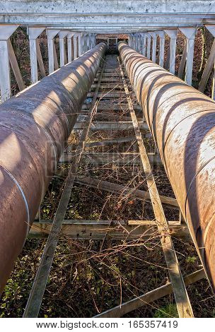 Two city water supply pipes in steel