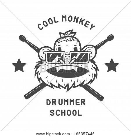 drummer monkey face vector graphic design illustration isolated on white background.