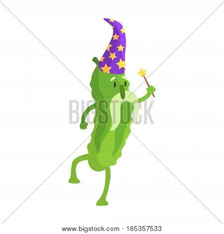 Cucumber In Wizard Costume With Magic Wand, Part Of Vegetables In Fantasy Disguises Series Of Cartoon Silly Characters. Colorful Vector Illustration With Fresh Food Disguised As Magic And Comics Creatures.