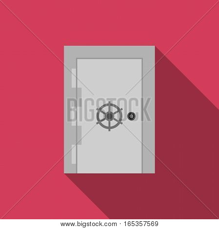 Safe door with long shadow in flat style.