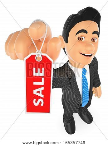 3d business people illustration. Businessman showing a tag with the word sale. Isolated white background.