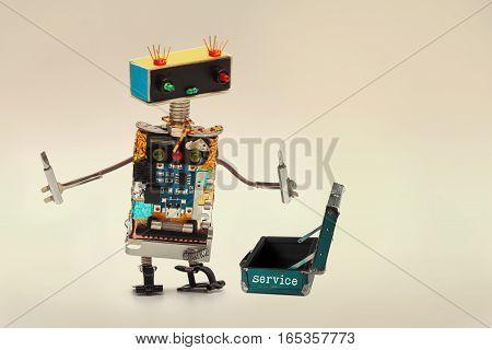 Service support concept. Technician worker with screwdrivers and opened baggage toolkit. Fun toy character handyman robot, colorful head red blue light bulbs eyes gradient background