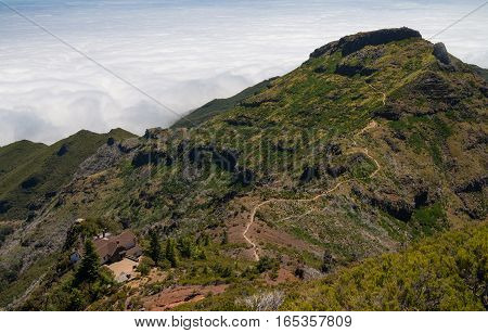 Hiking path leading to Pico ruivo, highest peak on Madeira