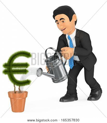 3d business people illustration. Businessman watering euro shaped pot plant. Growth concept. Isolated white background.
